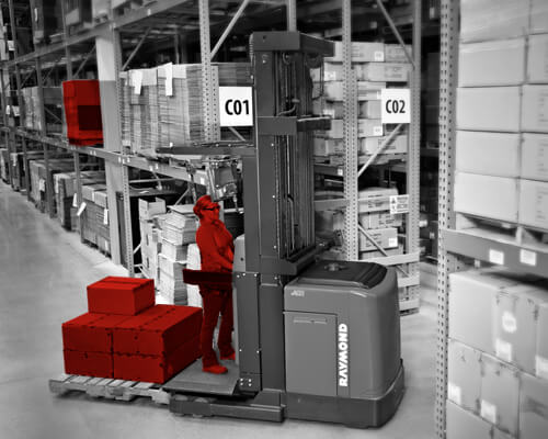 Black and white warehouse graphic with Raymond forklifts and assets on forks highlighted in red.