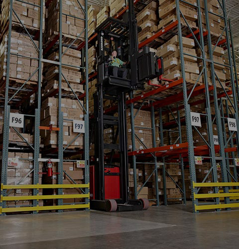 swing reach truck, turret truck, narrow aisle forklift