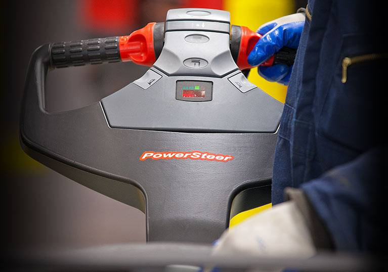 Raymond ergonomic control handle on pallet truck