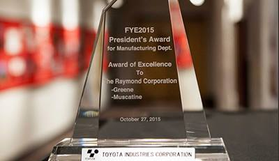 Toyota President's Award, The Raymond Corporation 2015