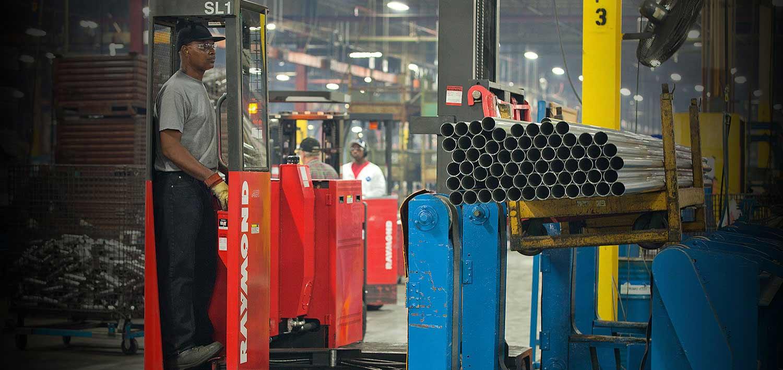 long load forklift, raymond sideloader, long load handling forklift, narrow aisle forklift