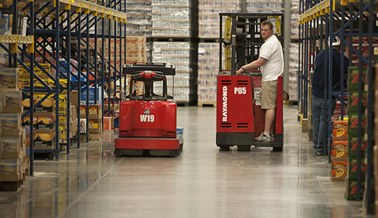 Raymond stand up forklifts, pallet truck