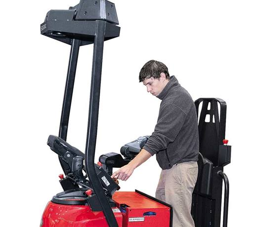 Raymond Courier Automated Lift Truck Operating in Warehouse