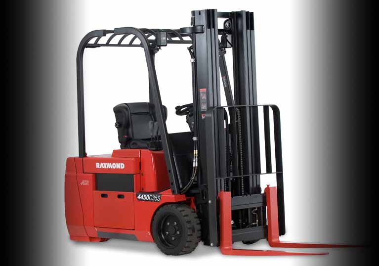 Raymond 4450 Sit Down Counterbalanced Forklift with easy battery removal from both sides