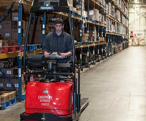 Raymond Courier Automatic Forklift in Warehouse operation
