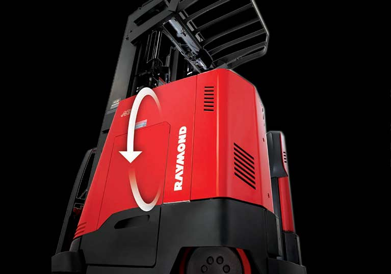 Raymond forklift, reach truck with regenerative lowering
