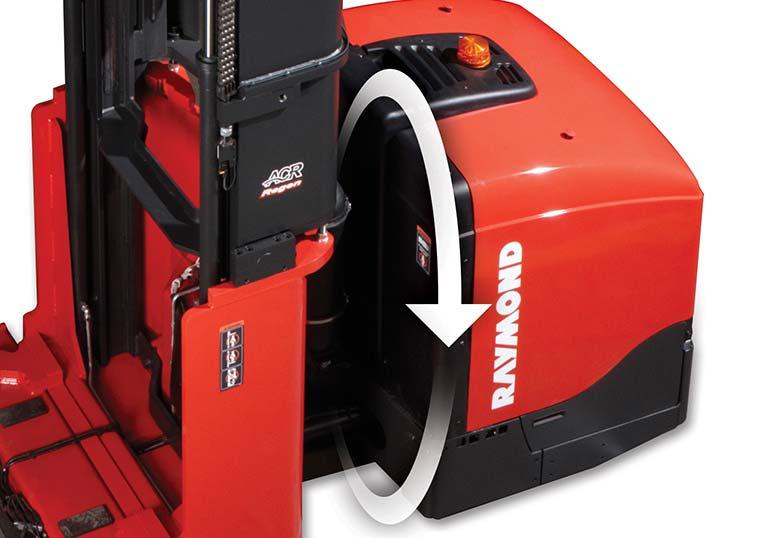 Raymond 9800 Swing Reach Truck Regenerative Lowering