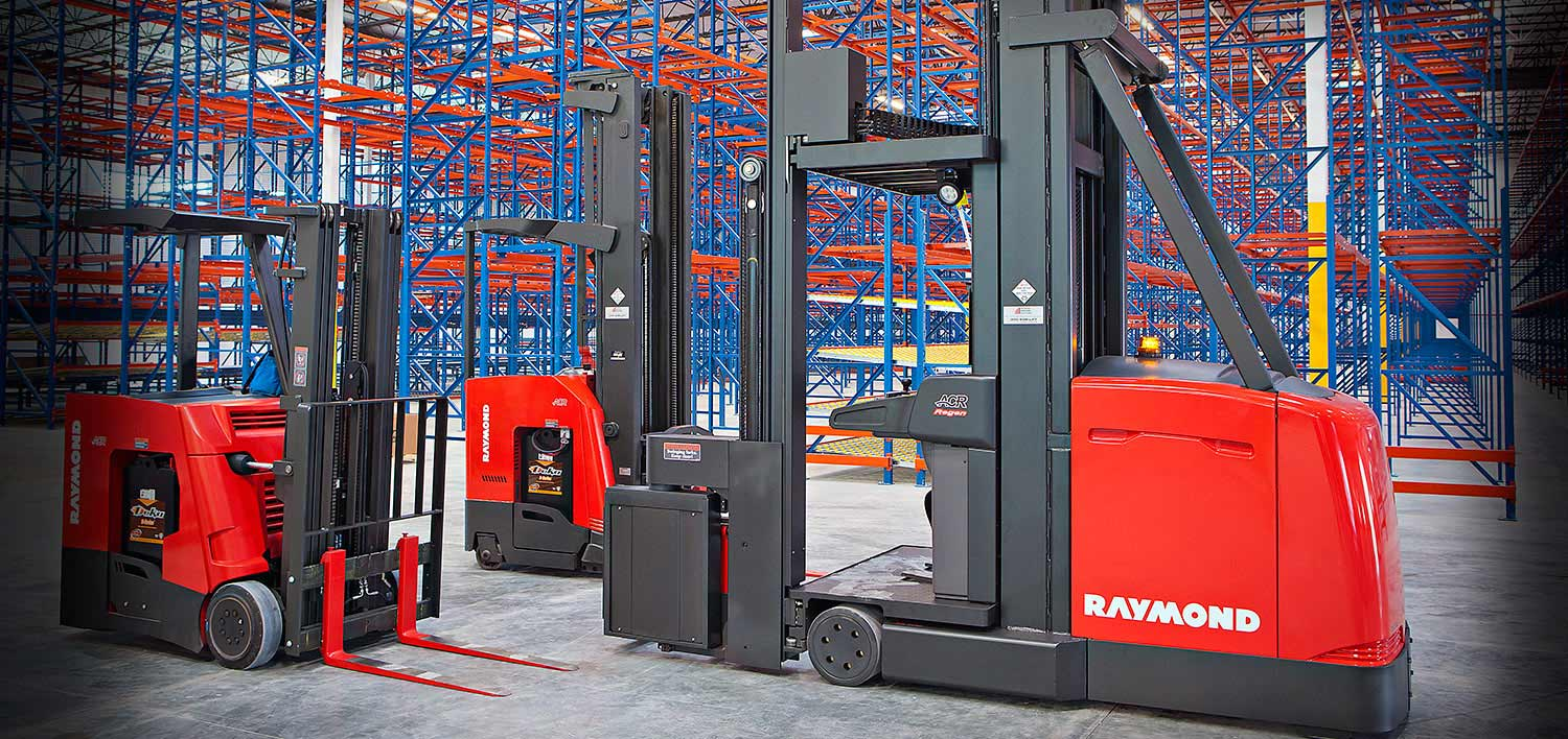 Raymond forklift, stand up forklift, reach truck, turret truck
