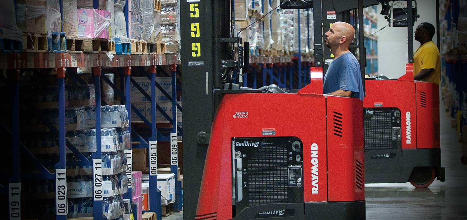 Raymond Reach trucks with fuel cell, Raymond narrow aisle forklifts in aisle