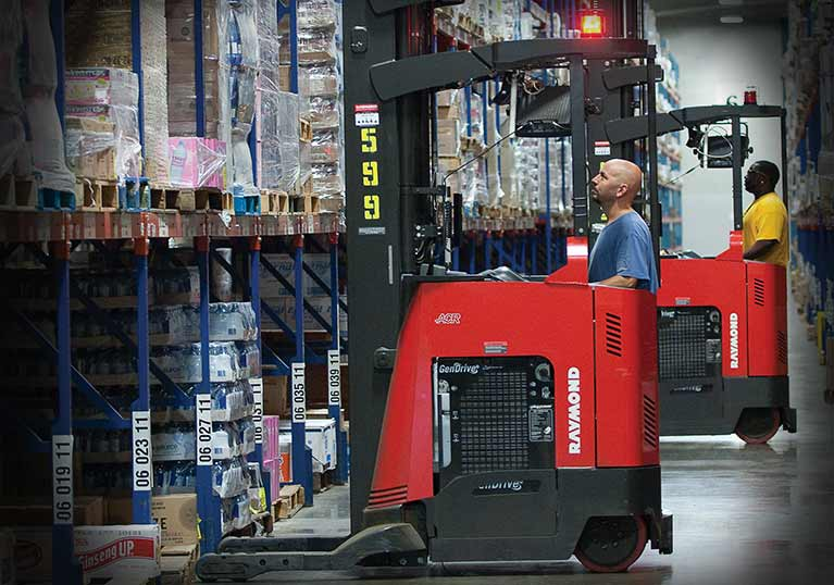 Raymond reach truck with fuel cell, fuel cell forklift