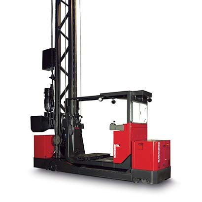 Turret truck, transtacker, vna forklift, very narrow aisle, Raymond TRT Swing-Reach