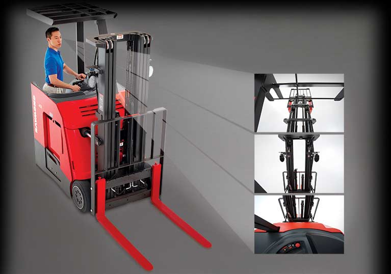 Raymond stand up counterbalanced lift truck with open view mast