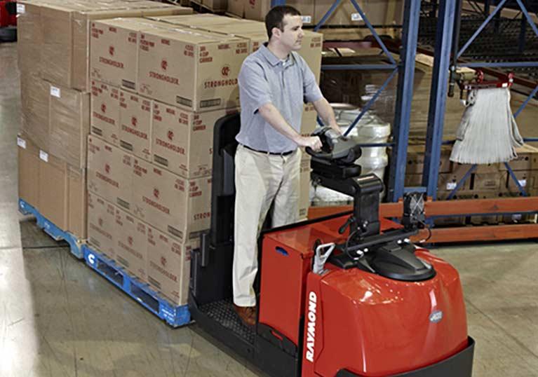 Raymond 8510 Center Riding Pallet Jack Smooth, Precise Control