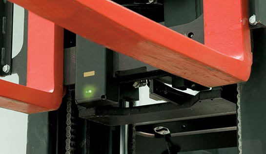 Fork-Tip Laser Guide for Raymond Reach-Fork Trucks