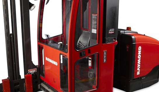 Raymond 9800 Swing Reach Turret Truck with Optional Enclosed Operator