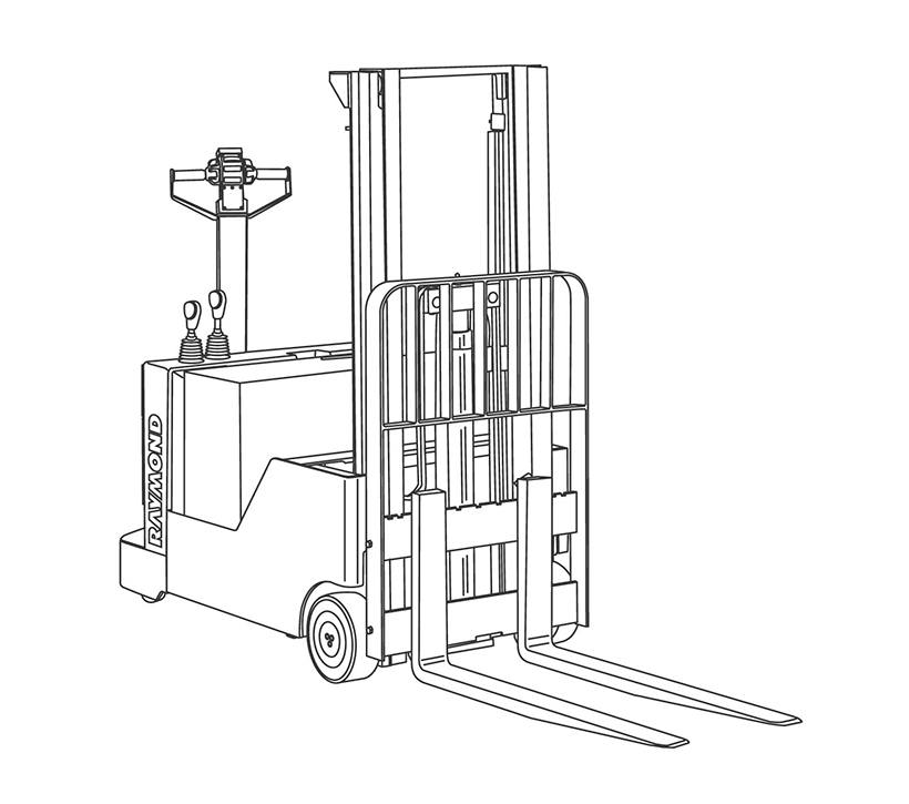 Raymond Walkie Counterbalanced Stacker Line Drawing