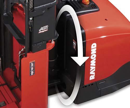 Raymond 9800 Swing-Reach Truck Regenerative Lowering